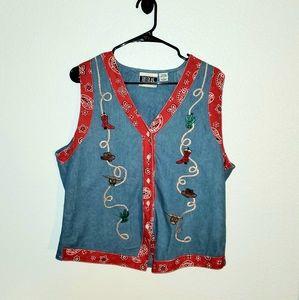 Bill Blass Denim Cowgirl Vest Size L